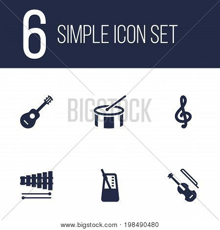 Collection Of Acoustic, Quaver, Percussion And Other Elements.  Set Of 6 Music Icons Set.