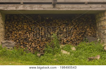 Rural life scene of Firewood Storage Shed