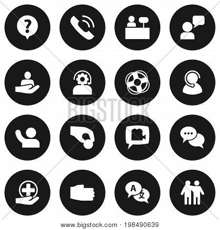 Collection Of Speaker, Undertake, Help And Other Elements.  Set Of 16 Support Icons Set.