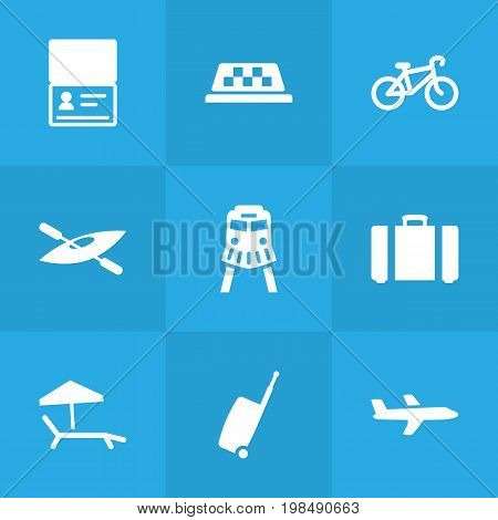 Collection Of Aircraft, Tram, Chaise Longue And Other Elements.  Set Of 9 Travel Icons Set.