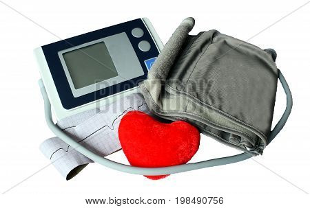 Automatic Blood Pressure Monitor Isolated On White Background With Clipping Path