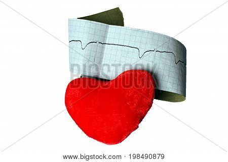 Close up of an electrocardiogram in paper form and red heart