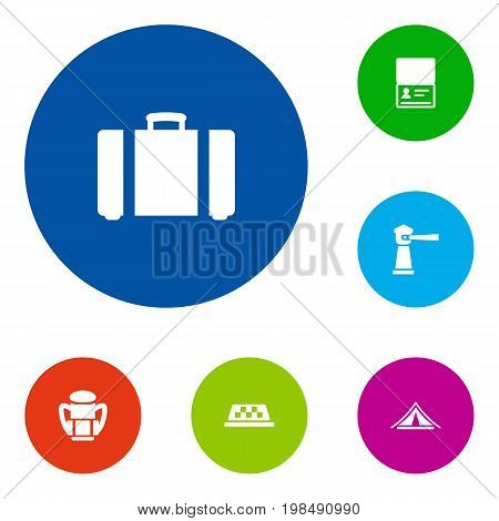 Collection Of Suitcase, Cab, Citizenship And Other Elements.  Set Of 6 Journey Icons Set.