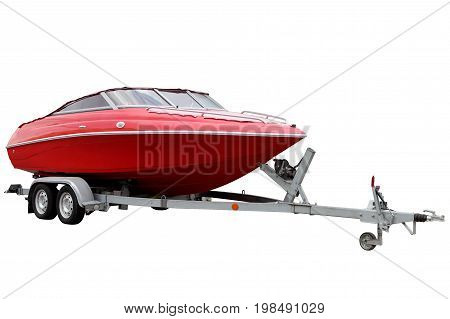 Modern Motor boat isolated on white background.