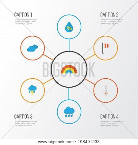 Weather Flat Icons Set. Collection Of Lightning, Rain, Drop And Other Elements