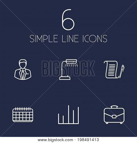 Collection Of Reading-Lamp, Agreement, Date And Other Elements.  Set Of 6 Bureau Outline Icons Set.