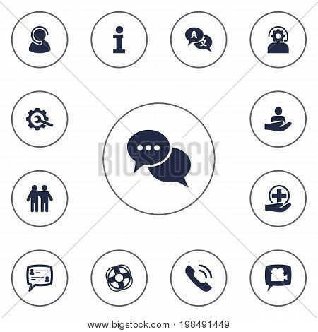 Collection Of Speaker, Talk, Translate And Other Elements.  Set Of 13 Support Icons Set.