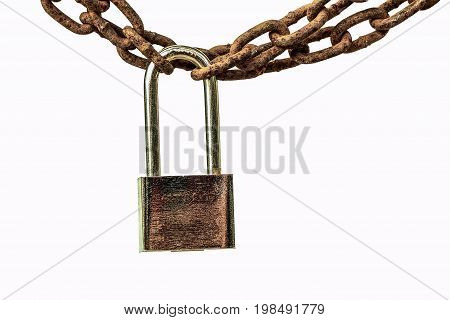 rusted big chain isolated on white background