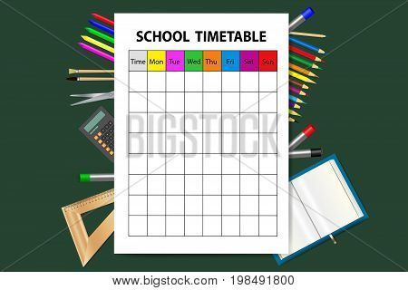 Vertically oriented vector with school timetable on the green background. School equipment is sizzling from behind the timetable.