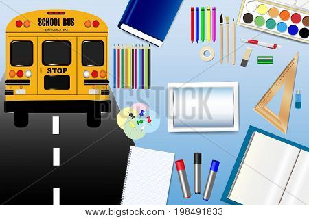 School bus is driving on the road in the left side of the vector. School equipment is in the right side of the vector with empty tablet screen in the centre ready for your text.