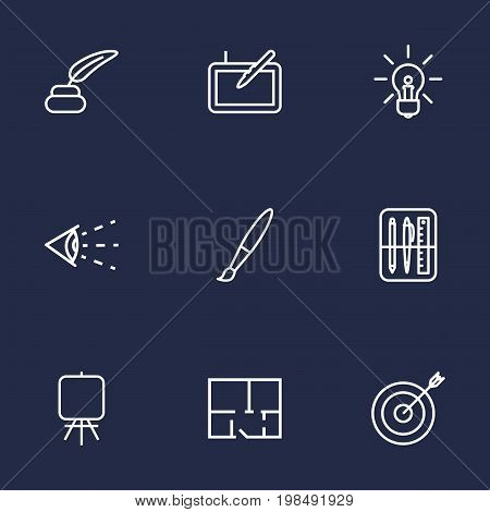 Collection Of Drawing Tools, Inkwell With Pen, Paintbrush And Other Elements.  Set Of 9 Creative Outline Icons Set.
