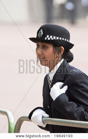 LONDON, UK - APRIL 29: A police woman at Prince William and Kate Middleton wedding, April 29, 2011 in London, United Kingdom