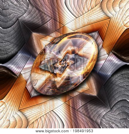 3D rendering combo artwork with fractal and fractal elipse button