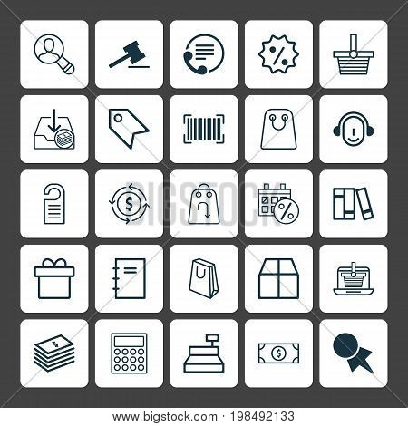 Ecommerce Icons Set. Collection Of Bookshelf, Present, Tote Bag And Other Elements
