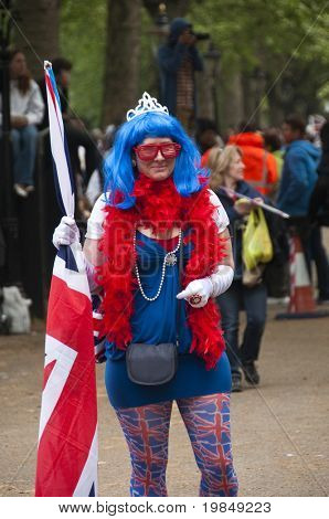 LONDON, UK - APRIL 29: A woman specially dressed for Prince William and Kate Middleton wedding, April 29, 2011 in London, United Kingdom