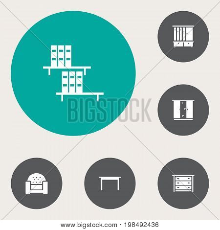 Collection Of Commode, Sofa, Wardrobe And Other Elements.  Set Of 6 Situation Icons Set.
