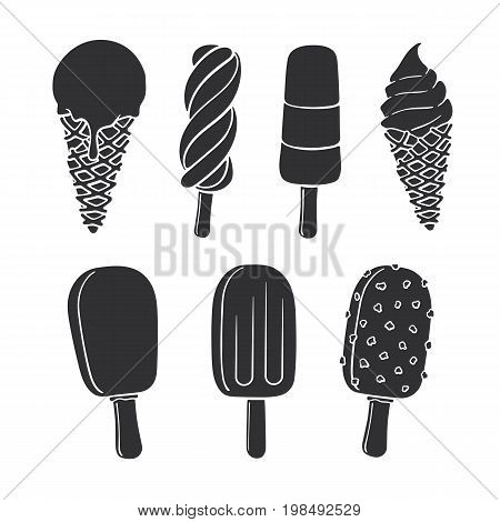Vector illustration set. Silhouettes of ice cream ice ball in the waffle cone choc-ice with glaze and nuts fruit ice lolly colored spiral popsicle. Isolated on white background