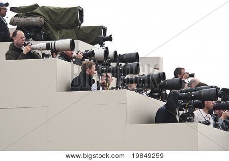 LONDON, UK - APRIL 29: Photographers at Prince William and Kate Middleton wedding, April 29, 2011 in London, United Kingdom