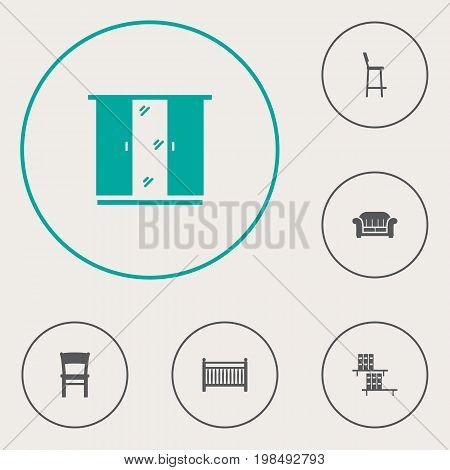 Collection Of Bookcase, Cupboard, Stool And Other Elements.  Set Of 6 Situation Icons Set.