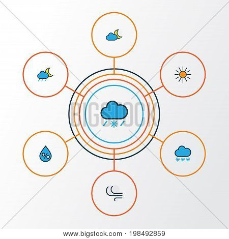 Climate Colorful Outline Icons Set. Collection Of Sunshine, Raindrop, Lunar And Other Elements