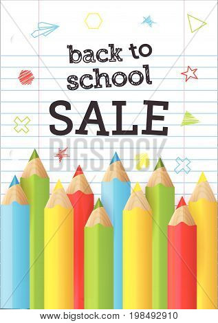 Back to school Sale banner with realistic pencils and doodle elements. .Colorful tools for drawing. Sale background for school shopping. Vector illustration.