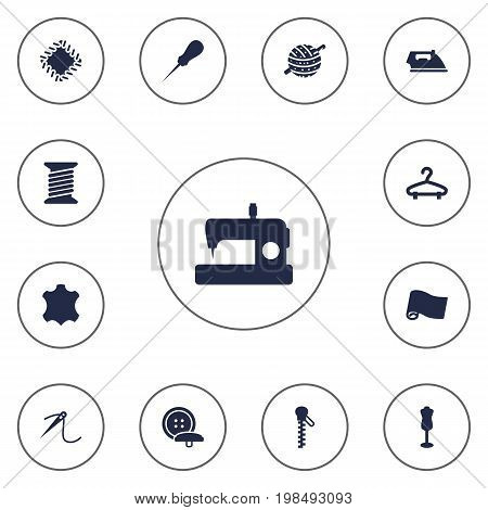 Collection Of Mannequin, Roll, Knitting And Other Elements.  Set Of 13 Tailor Icons Set.