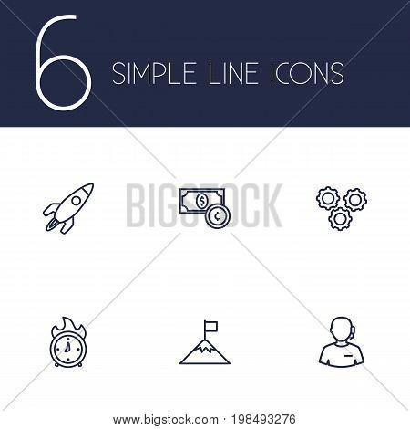 Collection Of Success, Working Process, Currency And Other Elements.  Set Of 6 Business Outline Icons Set.