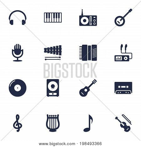 Collection Of Octave Keyboard, Percussion, Radio And Other Elements.  Set Of 16 Song Icons Set.