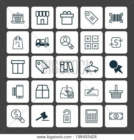 Ecommerce Icons Set. Collection Of Present, Mobile Service, Price Stamp And Other Elements