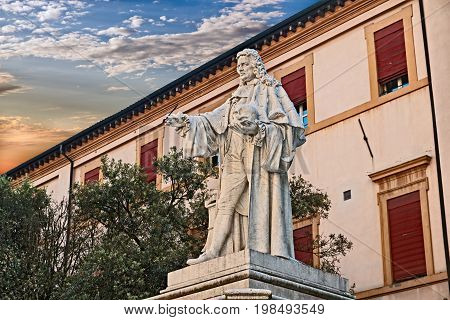 Forli, Emilia Romagna, Italy: ancient statue of the famous doctor anatomist and pathologist Giovanni Battista Morgagni (1682 - 1771), regarded as the father of modern anatomical pathology