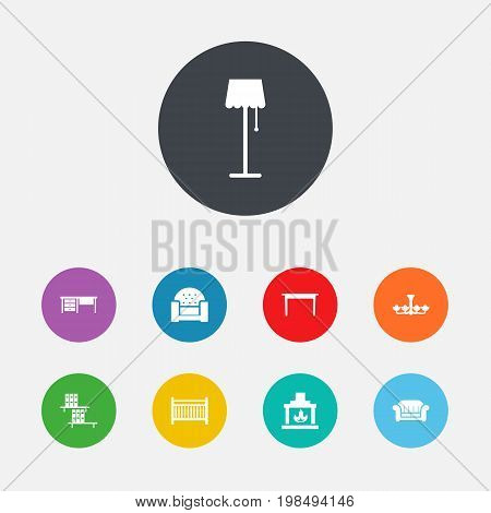 Collection Of Cot, Couch, Bookcase And Other Elements.  Set Of 9 Situation Icons Set.