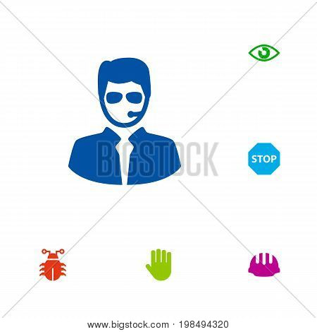 Collection Of Look, Virus , Hand Elements.  Set Of 6 Procuring Icons Set.