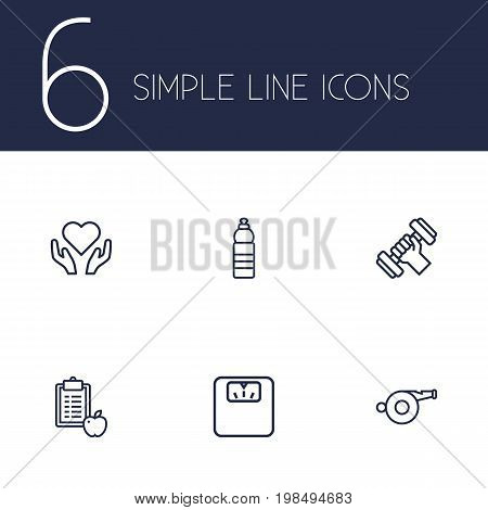 Collection Of Water Bottle, Scales, Whistle And Other Elements.  Set Of 6 Training Outline Icons Set.
