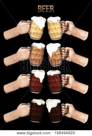 Set of watercolor hands holding pints of four varieties of beer. Hand painted illustration isolated on black background