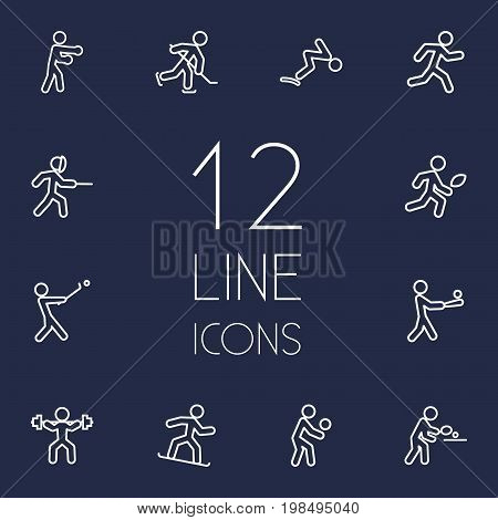 Collection Of Stick, Swordplay, Puck And Other Elements.  Set Of 12 Athletic Outline Icons Set.