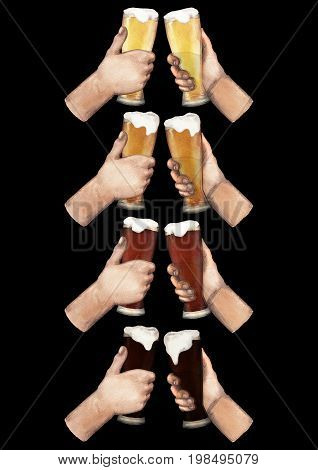 Set of watercolor hands holding high glasses of beer. Hand painted watercolor illustration isolated on black background