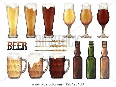 Three types of beer in glasses of different shapes and bottles. Hand painted watercolor illustration of alcoholic beverages