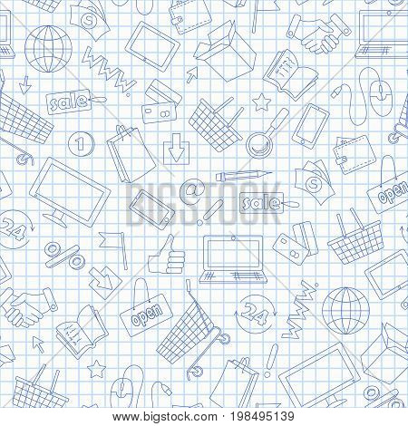 Seamless pattern on the theme of online shopping and Internet shops blue contour icons on the clean writing-book sheet in a cage