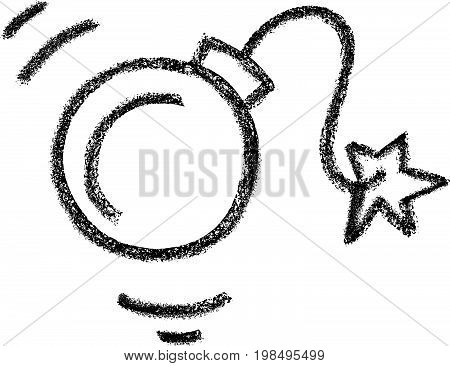 Vector illustration hand drawn bomb icon doodle style.