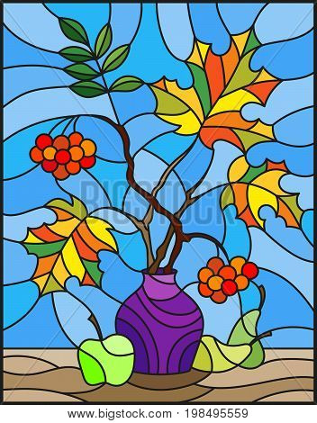 Illustration in stained glass style with autumn still life branches of moun
