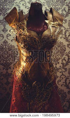 Costume Armor of woman Strong metal breastplate handmade in gold with gothic shapes and fine steel strands