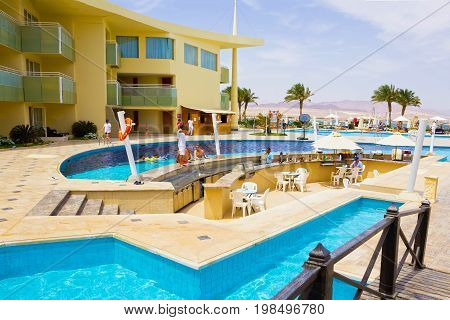 Sharm El Sheikh, Egypt - April 8, 2017: The view of luxury hotel Barcelo Tiran Sharm 5 stars at day with blue sky at Sharm El Sheikh, Egypt on April 8, 2017