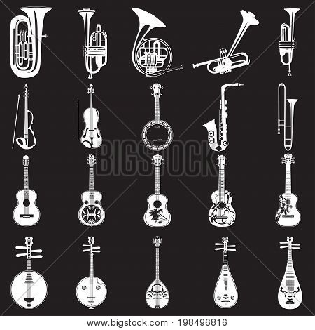 Vector set of musical instruments white templates on black background. Wind string bowed and plucked musical instruments in flat style.