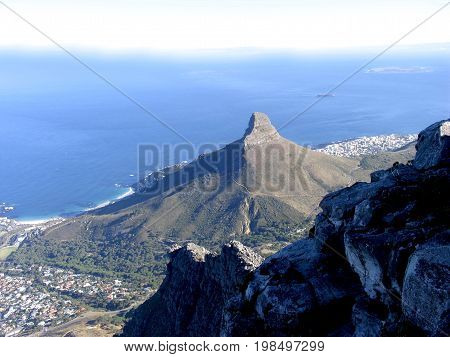 Table Mountain view from the top overlooking Lion's Head