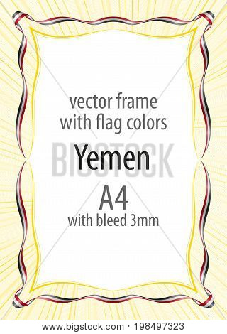 Frame And Border Of Ribbon With The Colors Of The Yemen Flag