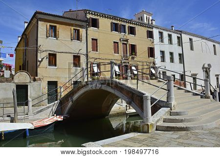 Ponte de San Nicolo in the Dorsoduro quarter of Venice Italy