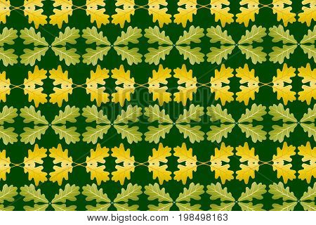 Oak leaf on green background - vector pattern , Yellow and green oak leaves