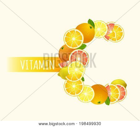 Citrus fruits - lemons, oranges and grapefruits highest in vitamin C composing C letter shape. Nutrition and healthy eating concept. Beautiful vector illustration isolated on light beige background.