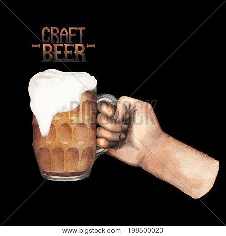 Watercolor hand holding pint of beer. Hand painted illustration isolated on black background
