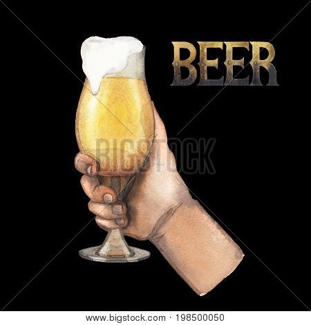 Watercolor hand holding tulip shaped glass of pale beer. Hand painted illustration isolated on black background